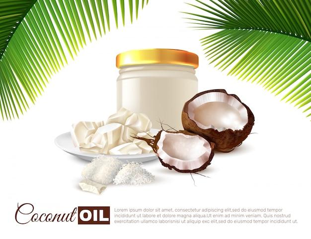 Affiche réaliste d'huile de noix de coco