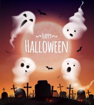 Affiche réaliste de joyeux halloween avec 4 fantômes flottant au-dessus du cimetière et des chauves-souris au coucher du soleil