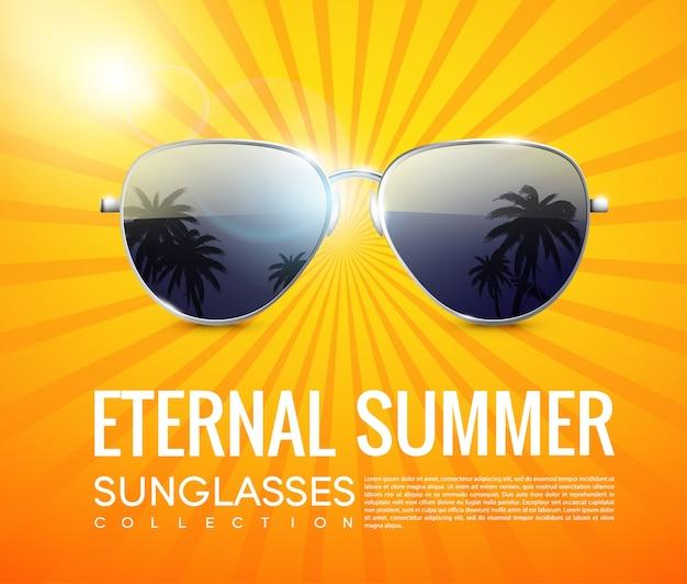 Affiche réaliste de lunettes de soleil aviateur à la mode