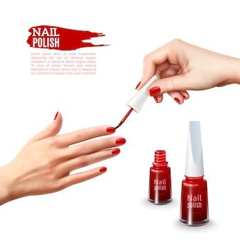 Affiche réaliste de mains de vernis à ongles de manucure