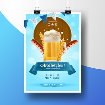 Affiche réaliste d'oktoberfest avec pinte
