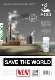 Affiche réaliste de protection de l'environnement avec verre d'eau propre et illustration d'environnement pollué d'usine industrielle
