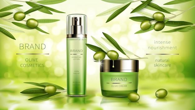 Affiche réaliste de vecteur de cosmétiques d'olive