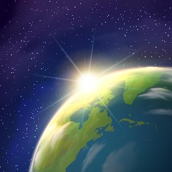 Affiche réaliste de vue de l'espace de sunrise earth