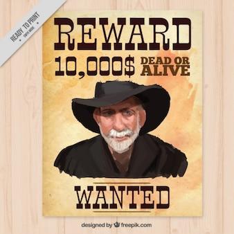 Affiche de récompense avec le portrait peint à la main