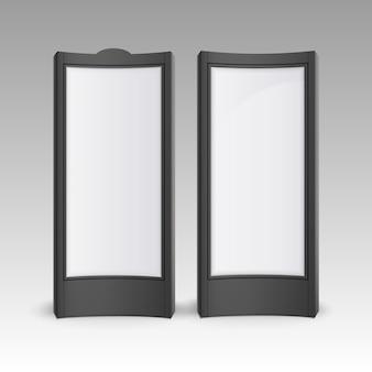 L'affiche rectangulaire blanc noir de vecteur se dresse sur des piliers pour la publicité extérieure
