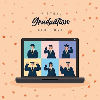 Affiche de remise des diplômes heureux