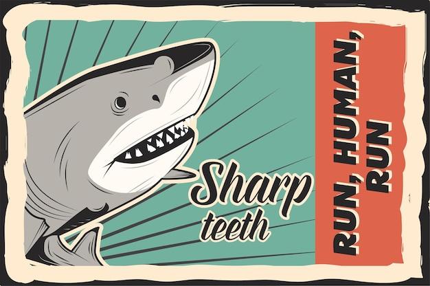 Une affiche de requin avec du texte jpg dessiné à la main