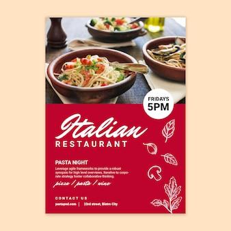 Affiche de restaurant de cuisine italienne