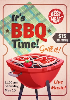 Affiche de restaurant de temps de barbecue