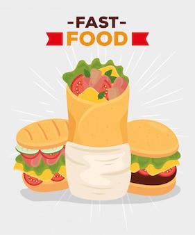 Affiche de restauration rapide, burrito avec sandwich et hamburger