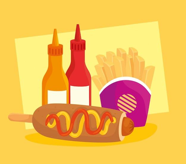 Affiche de restauration rapide, chien de maïs avec pommes de terre frites et sauces en bouteille