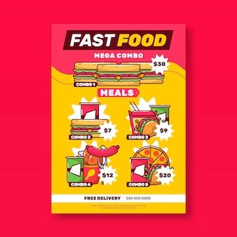 Affiche de restauration rapide de repas combinés