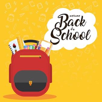 Affiche de retour à l & # 39; école avec cartable et fournitures