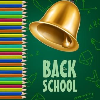Affiche de retour à l'école avec clochette, crayons de couleur