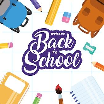 Affiche de retour à l & # 39; école avec fournitures de jeu