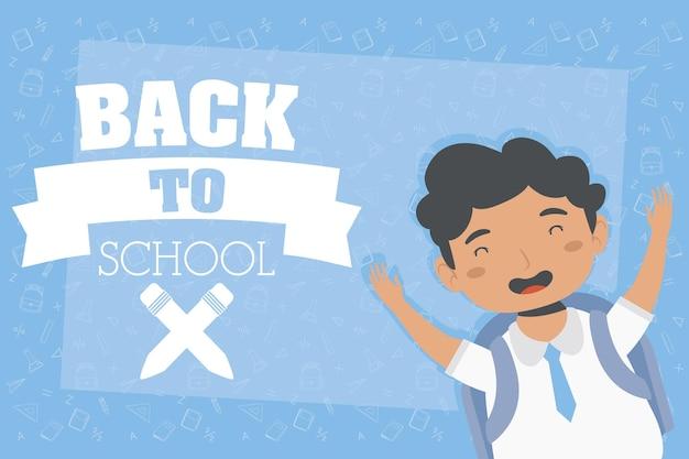 Affiche de retour à l'école avec garçon