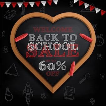 Affiche de retour à l'école avec des gribouillis