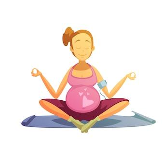 Affiche rétro de bande dessinée d'exercices de yoga de grossesse