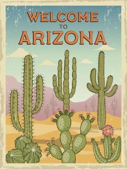 Affiche rétro bienvenue en arizona
