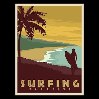 Affiche rétro du paradis du surf
