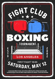 Affiche rétro de l'événement du club de combat.