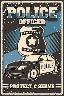 Affiche rétro d'illustration vectorielle de voiture de police