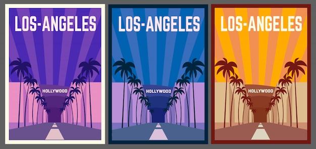 Affiche rétro de los-angeles. skyline de los-angeles