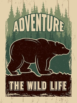 Affiche rétro avec photo d'ours sauvage
