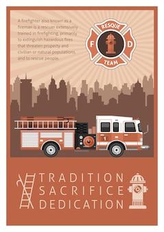 Affiche rétro de pompier