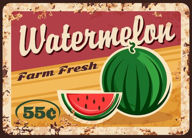 Affiche rétro de prix de fruits de ferme rouillés de plaque de métal de pastèque