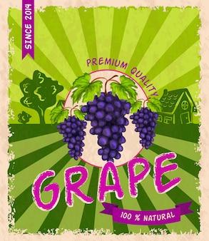 Affiche rétro de raisin