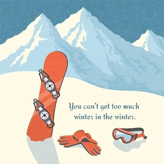 Affiche rétro de snowboard hiver montagne paysage fond