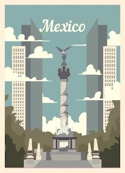 Affiche rétro des toits de la ville de mexico.