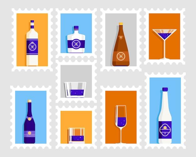 Affiche rétro de verre à bière et de bouteille