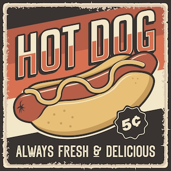 Affiche rétro vintage de hot-dog