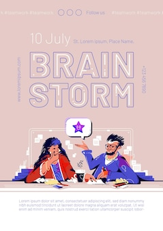 Affiche de la réunion d'équipe de brainstorming