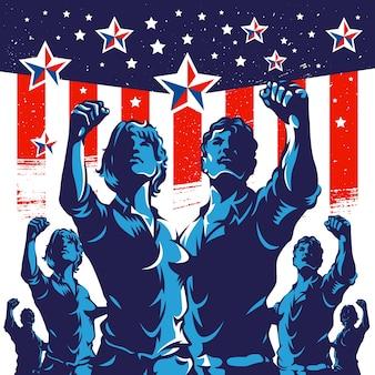 Affiche de la révolution de poing de protestation de foule américaine