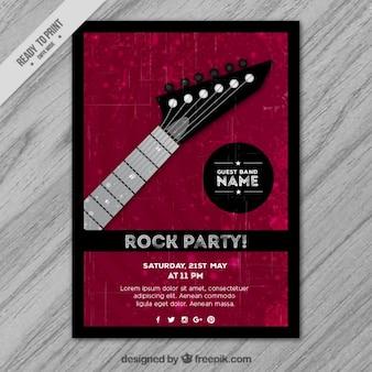 Affiche rock fête avec une guitare