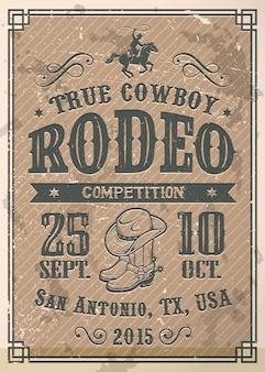 Affiche de rodéo de cow-boy américain avec typographie et texture de papier vintage