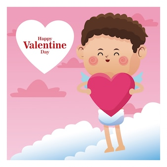 Affiche romantique valentin cupidon avec coeur rose