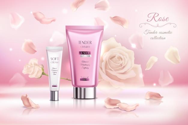 Affiche rose de collection cosmétique tendre avec illustration de tubes de crème douce