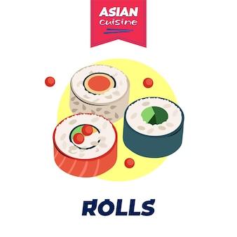 Affiche de rouleaux de nourriture japonaise design dessiné à la main, plat national du japon, riz et bar à sushis aux fruits de mer crus