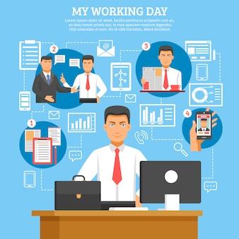 Affiche de routine quotidienne de l'homme