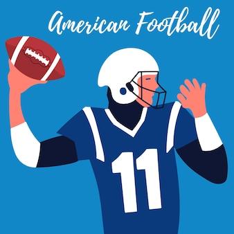 Affiche rugby player fait lancer quarterback football américain ballon de rugby