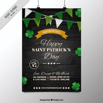L'affiche de saint patrick jour avec des guirlandes vertes