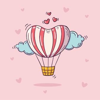 Affiche de la saint-valentin avec ballon à air chaud dans le ciel avec des nuages et des oiseaux