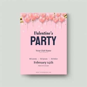 Affiche de la saint-valentin avec des ballons love pink balloon 3d.