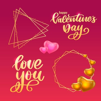 Affiche de la saint-valentin, carte, étiquette, slogan de lettre de bannière éléments vectoriels pour les éléments de conception de la saint-valentin. typographie love heart