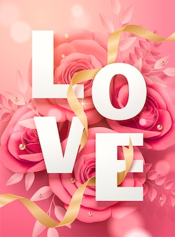 Affiche de la saint-valentin avec des fleurs en papier rose et des rubans dorés en illustration 3d